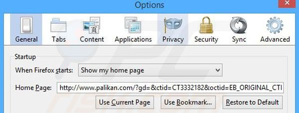 Removing palikan.com from Mozilla Firefox homepage