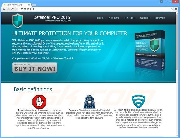 defender pro 2015 fake antivirus website