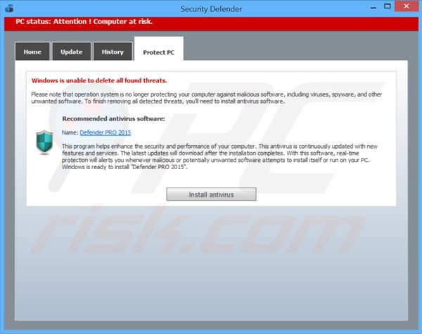 security defender scam promoting defender pro 2015 non existent antivirus program