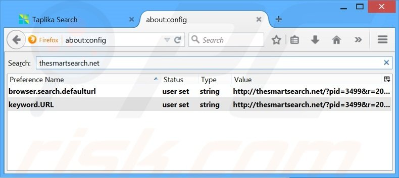 Removing thesmartsearch.net from Mozilla Firefox default search engine