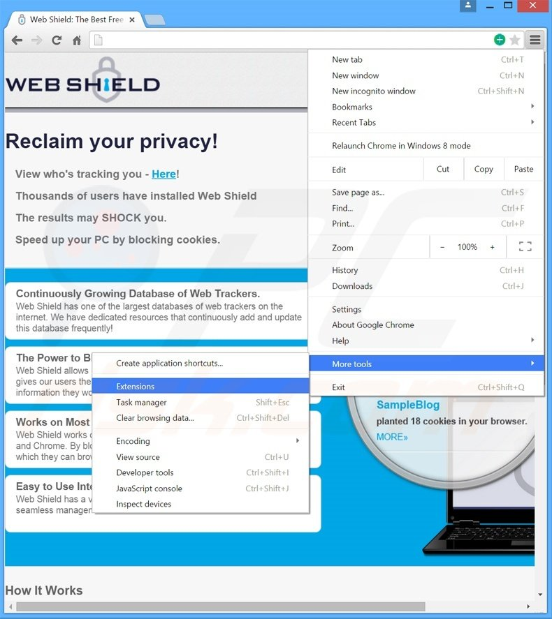 Removing Web Shield  ads from Google Chrome step 1