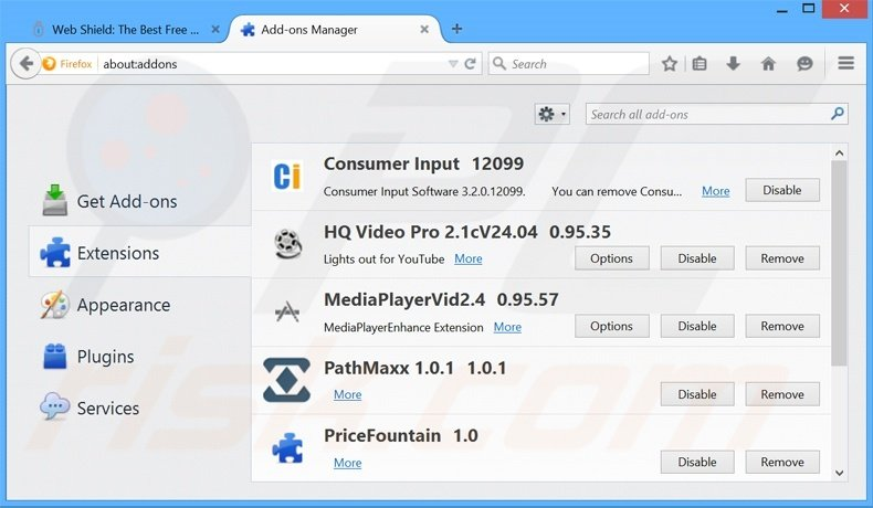 Removing Web Shield ads from Mozilla Firefox step 2