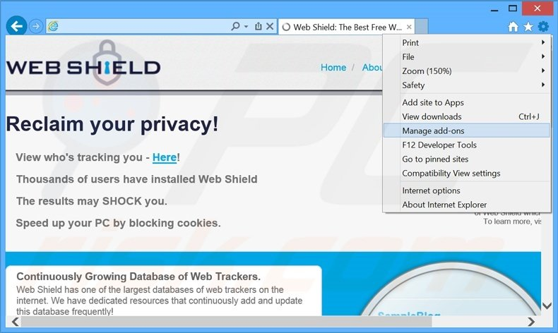Removing Web Shield ads from Internet Explorer step 1