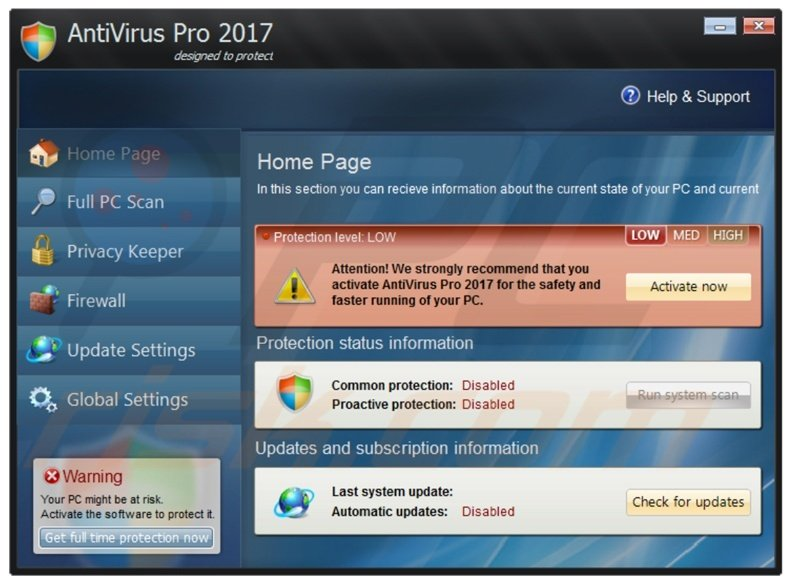 AntiVirus Pro 2017 fake antivirus program