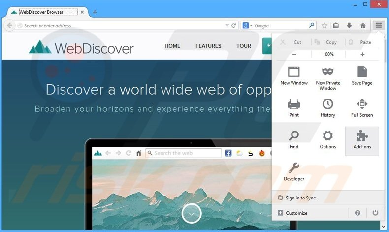 Removing WebDiscover ads from Mozilla Firefox step 1