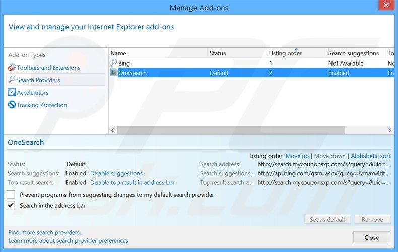 Removing search.mycouponsxp.com from Internet Explorer default search engine