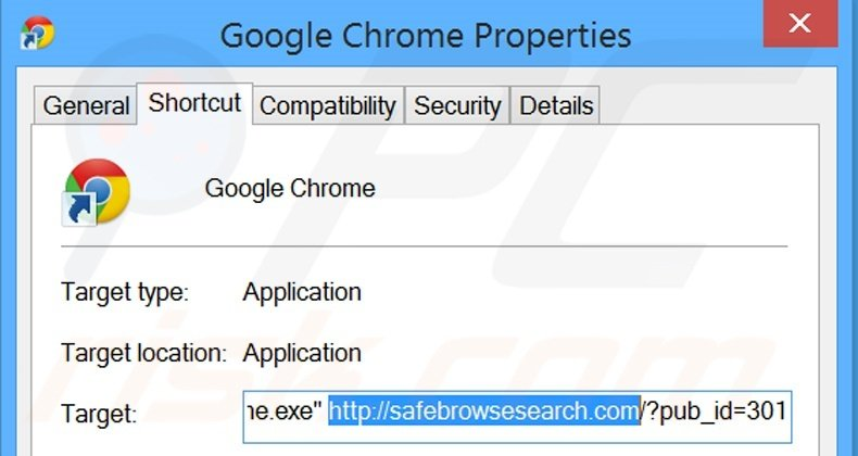 Removing safebrowsesearch.com from Google Chrome shortcut target step 2