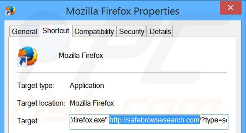 Removing safebrowsesearch.com from Mozilla Firefox shortcut target step 2