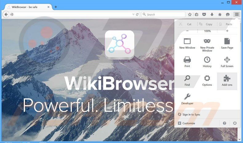 Removing WikiBrowser ads from Mozilla Firefox step 1