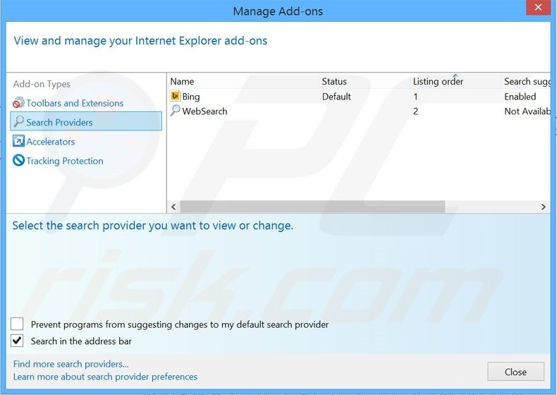 Removing search.myway.com from Internet Explorer default search engine