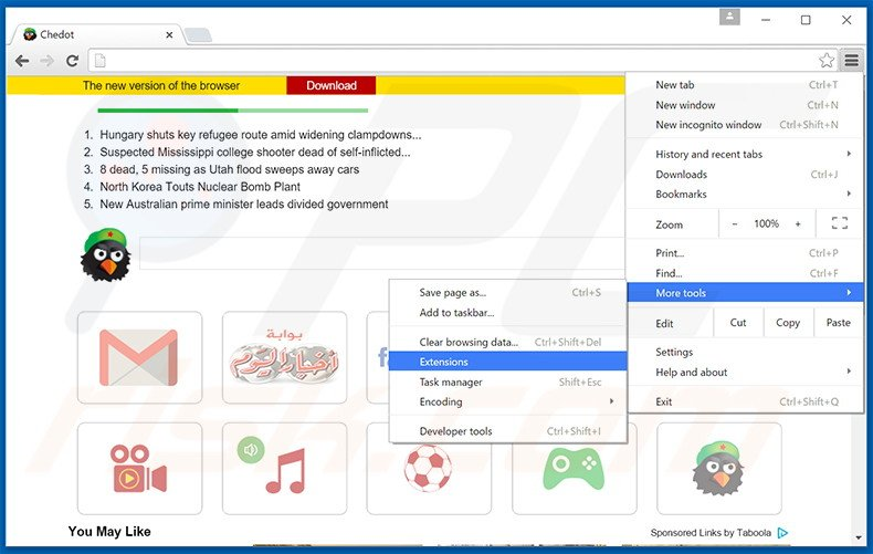 Removing Chedot Browser  ads from Google Chrome step 1