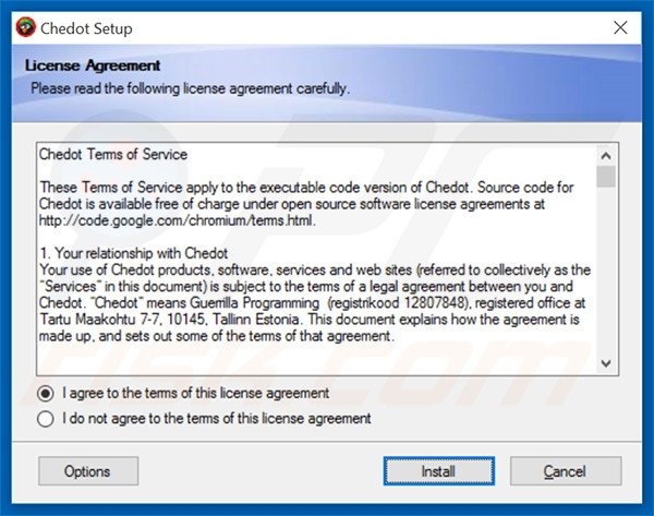 Official Chedot Browser Browser adware installation setup