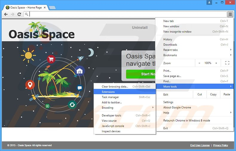 Removing Oasis Space  ads from Google Chrome step 1