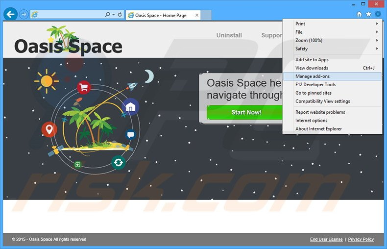 Removing Oasis Space ads from Internet Explorer step 1