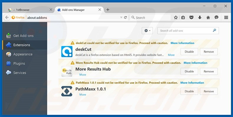 Removing eFast Browser ads from Mozilla Firefox step 2