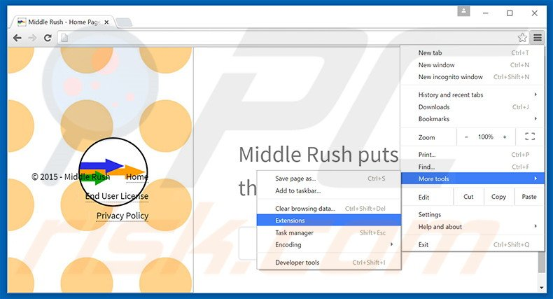 Removing Middle Rush  ads from Google Chrome step 1