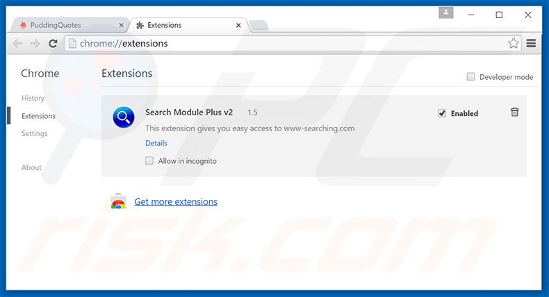 Removing Middle Rush ads from Google Chrome step 2