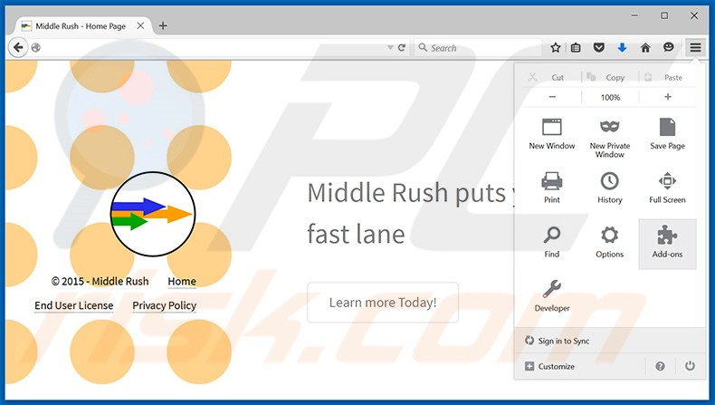 Removing Middle Rush ads from Mozilla Firefox step 1