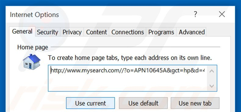 Removing mysearch.com from Internet Explorer homepage