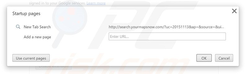 Removing search.yourmapsnow.com from Google Chrome homepage