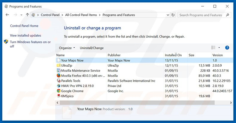 search.yourmapsnow.com browser hijacker uninstall via Control Panel