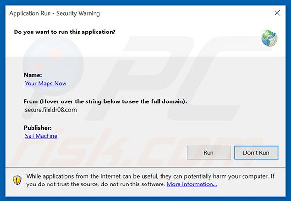 Security warning displayed when executing Your Maps Now browser hijacker