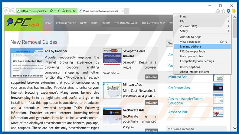 Removing Chromium ads from Internet Explorer step 1