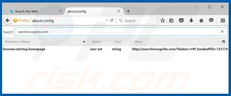 Removing searchincognito.com from Mozilla Firefox default search engine