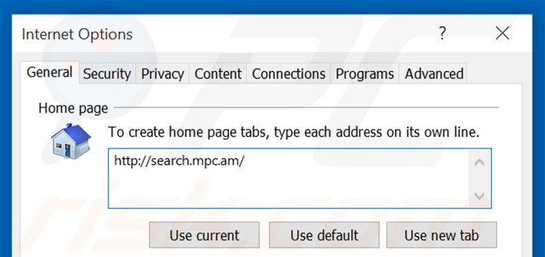 Removing search.mpc.an from Internet Explorer homepage