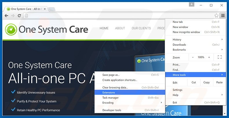 Removing One System Care  ads from Google Chrome step 1