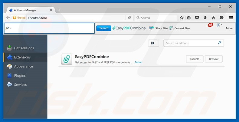 Removing EasyPDFCombine related Mozilla Firefox extensions