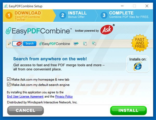 Official EasyPDFCombine browser hijacker installation setup
