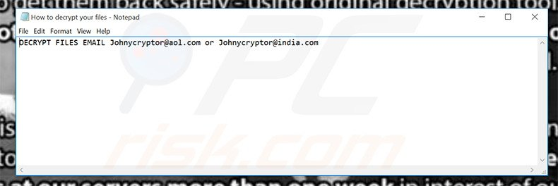 JohnyCryptor text file