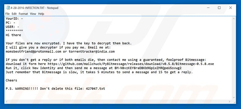 Yakes ransomware text file