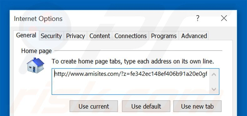 Removing amisites.com from Internet Explorer homepage