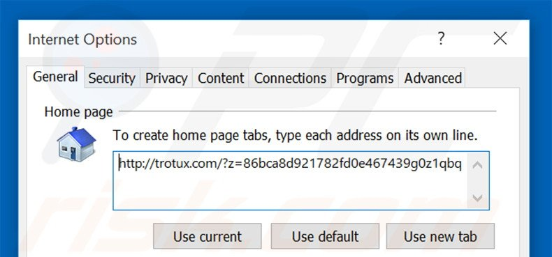 Removing trotux.com from Internet Explorer homepage