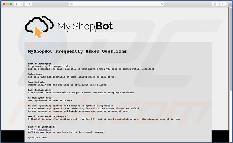 MyShopBot website FAQ