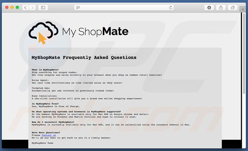 My ShopMate website's faq