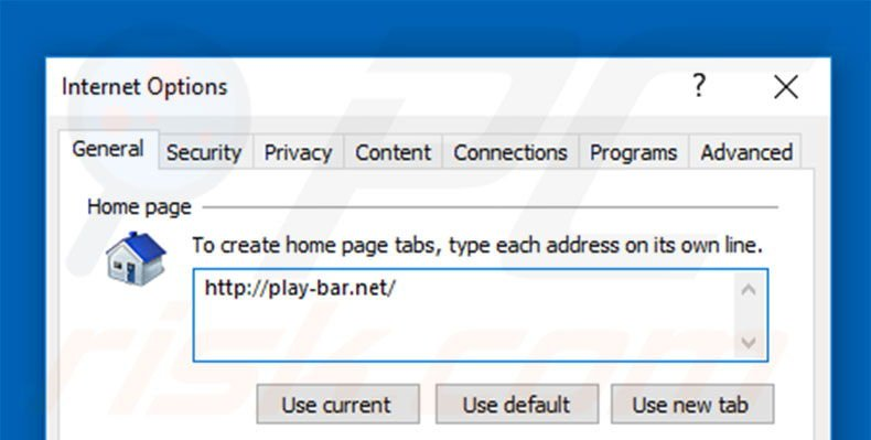 Removing play-bar.net from Internet Explorer homepage