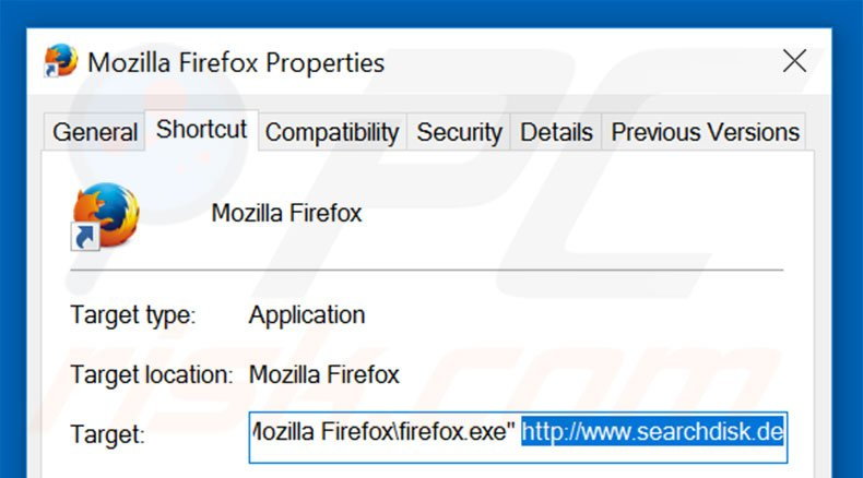 Removing searchdisk.de from Mozilla Firefox shortcut target step 2