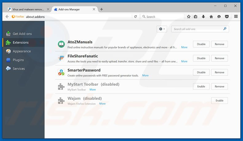 Removing Traffic Exchange ads from Mozilla Firefox step 2