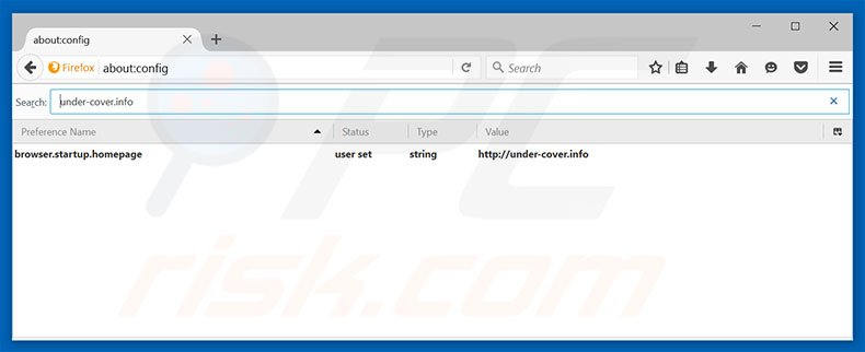 Removing under-cover.info from Mozilla Firefox default search engine
