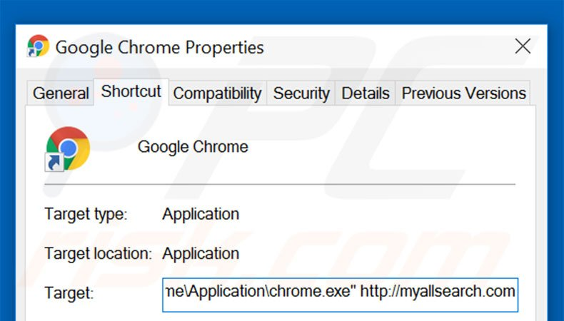 Removing myallsearch.com from Google Chrome shortcut target step 2