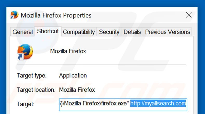 Removing myallsearch.com from Mozilla Firefox shortcut target step 2