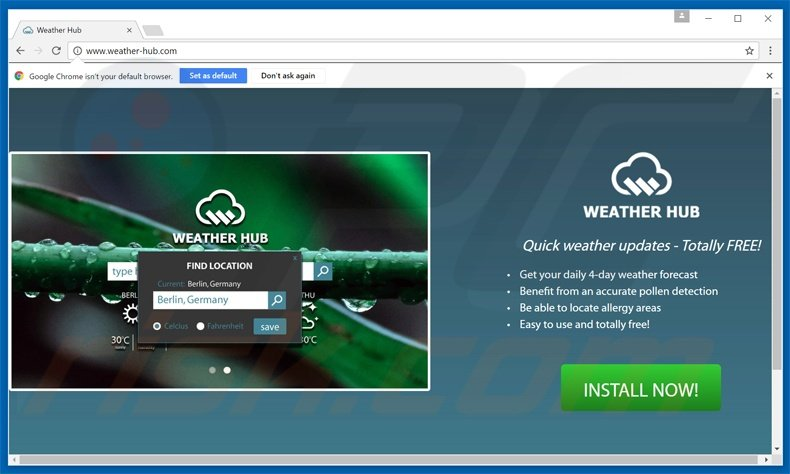 weather-hub pup redirecting to searchespro.com website