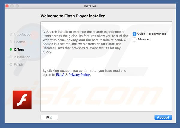 Delusive installer used to promote g-search.pro