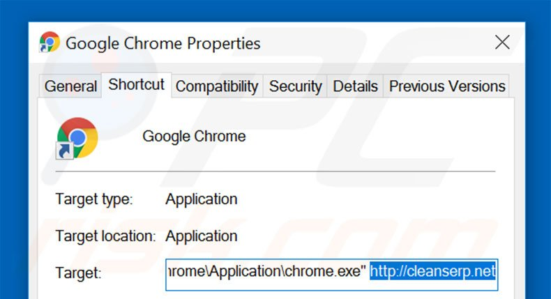 Removing cleanserp.net from Google Chrome shortcut target step 2