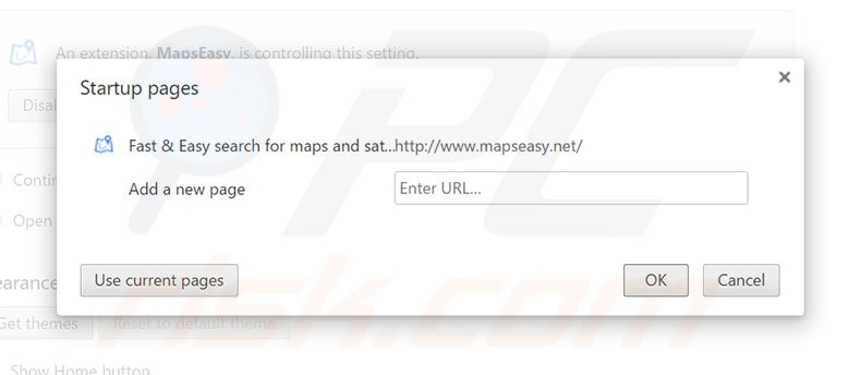 Removing mapseasy.net from Google Chrome homepage