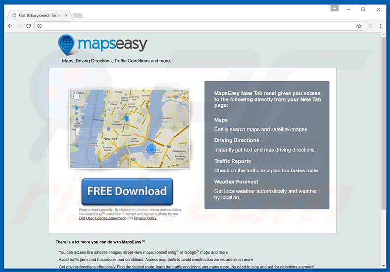 Website used to promote MapsEasy browser hijacker