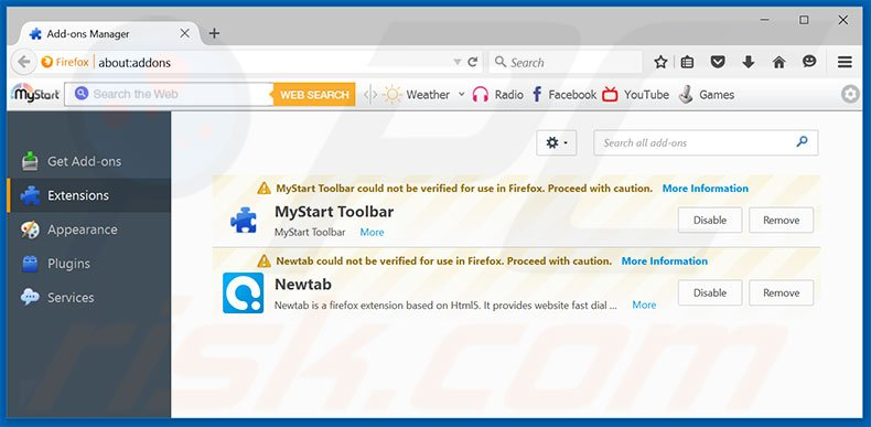 Removing searchlock.com related Mozilla Firefox extensions